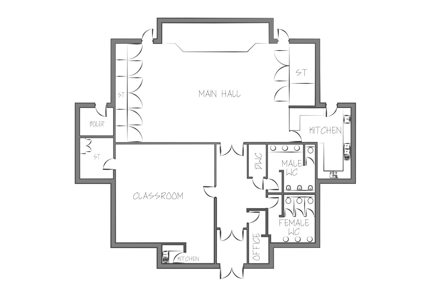Vernon Terrace community centre floor plan